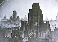 Hugh Ferriss:  Clustered Towers.  Photo '75.