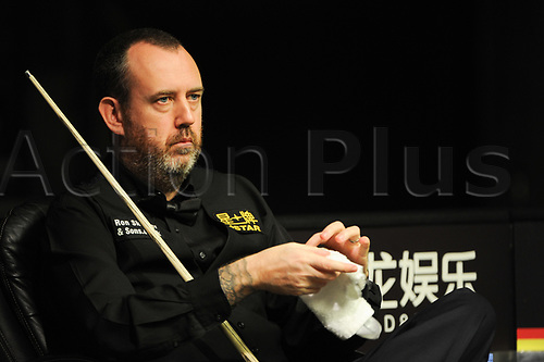 February 4th 2018, Tempedrom, Berlin, Germany; German Masters Snooker final; Mark Williams versus Graeme Dott; Mark Williams watches from his seat as Dott is at the table
