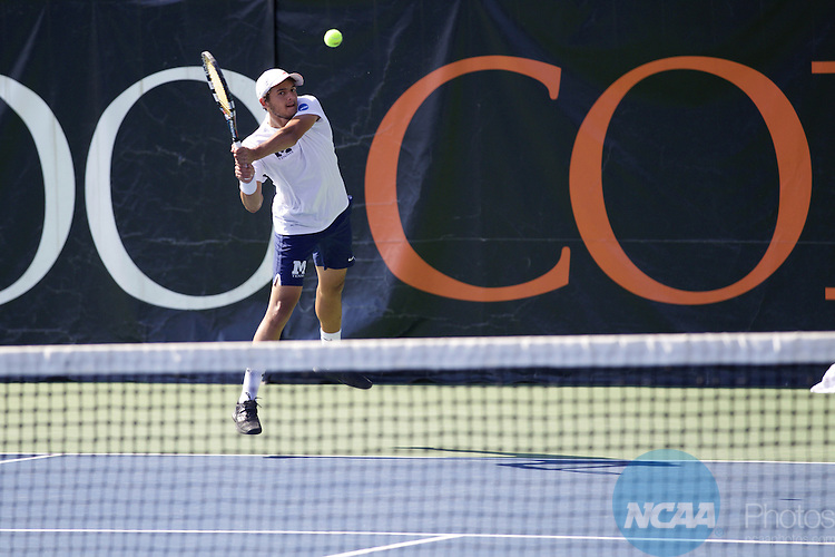 25 MAY 2016: Hamid Derbani of Middlebury College returns a serve in the Division III Men's Tennis Championship, at Stowe Stadium in Kalamazoo, MI. Bowdoin College defeated Middlebury 5-0 for the national title. Tony Ding/NCAA Photos
