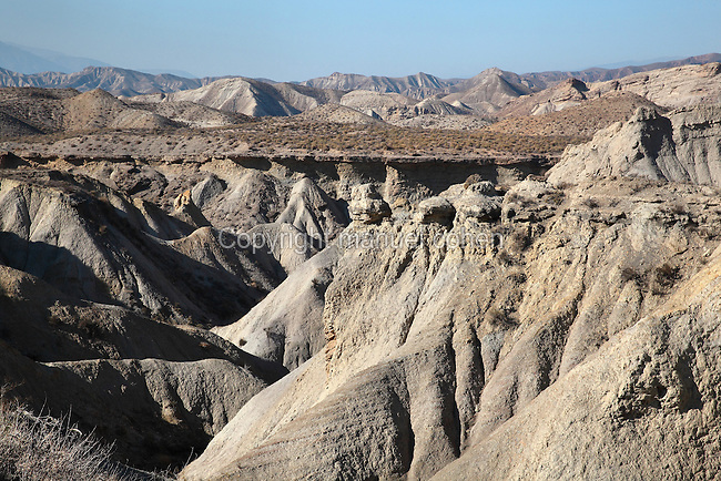 Landscape of the Tabernas Desert, a semi-desert in the Tabernas basin in Almeria, Andalusia, Southern Spain. The area has very low rainfall and is characterised by eroded sandstone badlands and areas of scrubland. Its 280km2 is protected as a wilderness area. Picture by Manuel Cohen