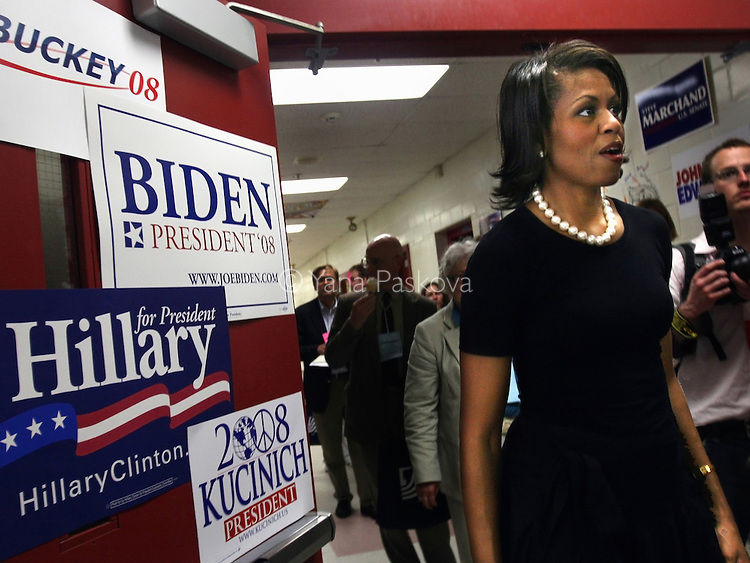 Michelle Obama, wife of Democratic presidential hopeful Senator Barack Obama, leaves an auditorium after speaking there for a Women for Obama rally. She arrived to the rally with her daughters Sasha and Malia, and her mother Marian Robinson, in Concord, New Hampshire, on June 2, 2007. .