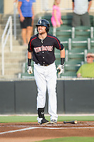 Trey Michalczewski (27) of the Kannapolis Intimidators grimaces in pain after being hit by a pitch against the Greensboro Grasshoppers at CMC-Northeast Stadium on June 12, 2014 in Kannapolis, North Carolina.  The Grasshoppers defeated the Intimidators 5-2.  (Brian Westerholt/Four Seam Images)