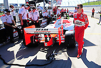 Jun. 21, 2008; Newton, IA, USA; IRL driver Ryan Briscoe during practice for the Iowa Corn Indy 250 at the Iowa Speedway. Mandatory Credit: Mark J. Rebilas-