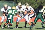 Manhattan Beach, CA 10/27/11 - Luca Sartini (Peninsula #73) in action during the Peninsula vs Mira Costa Junior Varsity football game.