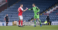 Fleetwood Town's Ashley Eastham and Alex Cairns  celebrates team mate Paddy Madden scoring the opening goal <br /> <br /> Photographer Hannah Fountain/CameraSport<br /> <br /> The EFL Sky Bet League One - Rochdale v Fleetwood Town - Saturday 19 January 2019 - Spotland Stadium - Rochdale<br /> <br /> World Copyright © 2019 CameraSport. All rights reserved. 43 Linden Ave. Countesthorpe. Leicester. England. LE8 5PG - Tel: +44 (0) 116 277 4147 - admin@camerasport.com - www.camerasport.com