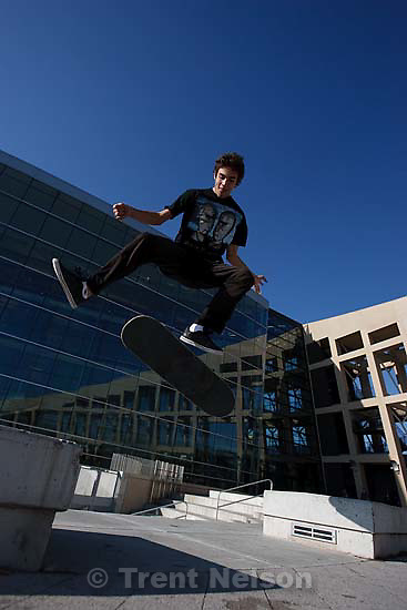 Holland Redd skateboarding at Library Square Tuesday, October 6 2009 in Salt Lake City.