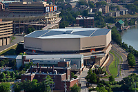 aerial photograph of of the University of Texas Thompson-Boling Arena, Knoxville, Knox County, Tennessee; Neyland Stadium is in the background