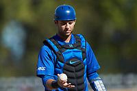 Duke Blue Devils catcher Michael Rothenberg (38) on defense against the Coastal Carolina Chanticleers at Segra Stadium on November 2, 2019 in Fayetteville, North Carolina. (Brian Westerholt/Four Seam Images)