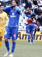 Getafe's Angel Lafita (l) and Alvaro Vazquez dejected during La Liga match.December 15,2012. (ALTERPHOTOS/Acero) /NortePhoto