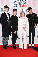 Clean Bandit arrives for the BRIT Awards 2015 at the O2 Arena, London. 25/02/2015 Picture by: Steve Vas / Featureflash