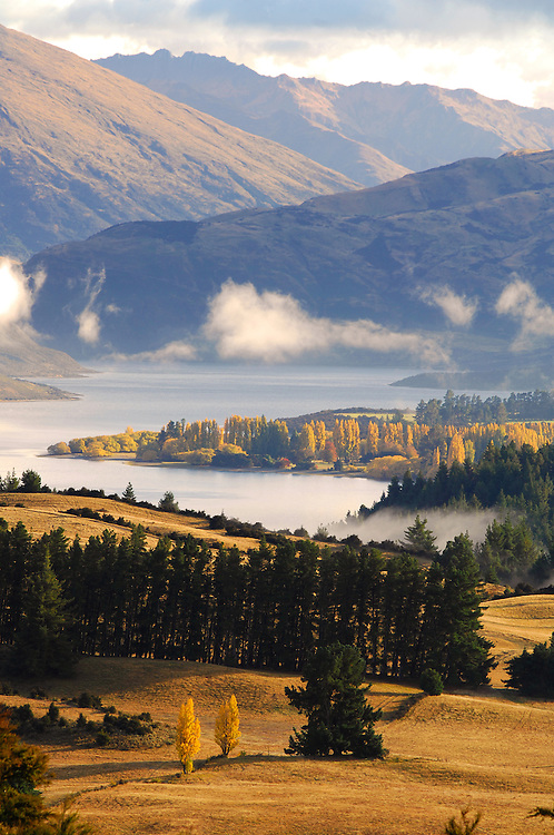 View of Lake Wanaka and farmland from Mt Iron, South Island, New Zealand - stock photo, canvas, fine art print