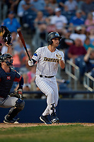 Trenton Thunder Brandon Wagner (10) bats during an Eastern League game against the New Hampshire Fisher Cats on August 20, 2019 at Arm & Hammer Park in Trenton, New Jersey.  New Hampshire defeated Trenton 7-2.  (Mike Janes/Four Seam Images)