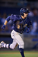 San Antonio Missions second baseman Luis Urias (3) runs to first base during a game against the Tulsa Drillers on June 1, 2017 at ONEOK Field in Tulsa, Oklahoma.  Tulsa defeated San Antonio 5-4 in eleven innings.  (Mike Janes/Four Seam Images)