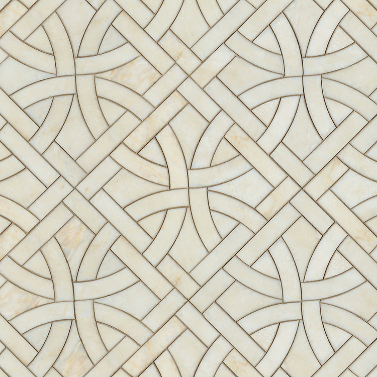 Gran Via, a waterjet stone mosaic, shown in polished Cloud Nine, is part of the Miraflores Collection by Paul Schatz for New Ravenna.<br />