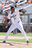 Jefferson Arias (37) of the Everett Aquasox delivers a pitch during a game against the Vancouver Canadian at Everett Memorial Stadium in Everett, Washington on July 28, 2015.  Everett defeated Vancouver 8-5. (Ronnie Allen/Four Seam Images)