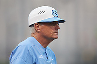 North Carolina Tar Heels head coach Mike Fox coaches third base during the game against the South Carolina Gamecocks at BB&T BallPark on April 3, 2018 in Charlotte, North Carolina. The Tar Heels defeated the Gamecocks 11-3. (Brian Westerholt/Four Seam Images)