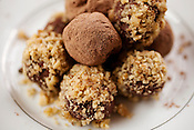 Chocolate truffles made with local farmer's cheese and pecans, free trade unsweetened baking and powdered chocolate with pure vanilla.