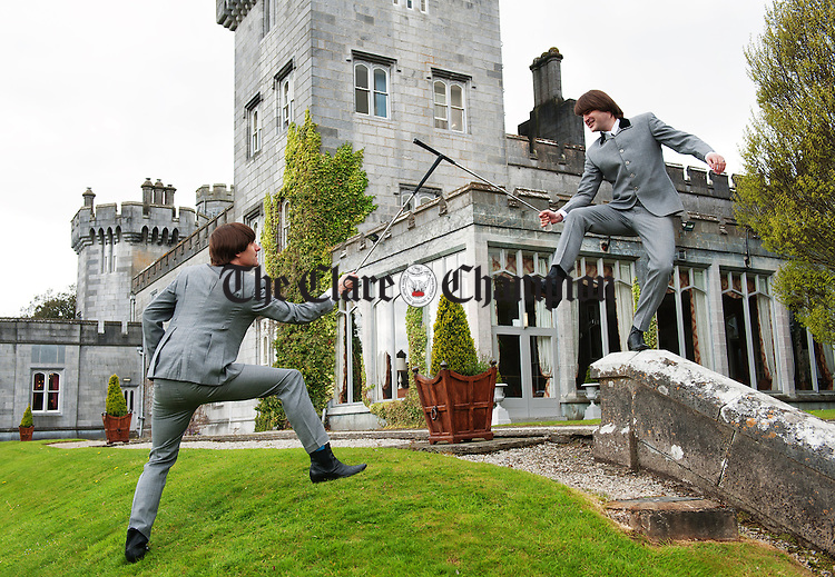 "Two of the Cast of  Get Back, the Story Of The Beatles, ""John Lennon"" and George Harrison"" pictured re enacting a 1960's  photograph of the Beatles at Dromoland Castle in Clare to promote the start of their Irish tour which opens in Glor, Ennis, on Saturday 4th May.  Photograph by John Kelly."
