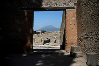 Mount Vesuvius is seen on Friday, Sept. 18, 2015, in Pompeii, Italy. The city of Pompeii was destroyed when nearby Mount Vesuvius erupted on August 24, AD 79. The town and its residents were buried and forgotten until the ruins were discovered and eventually excavated hundreds of years later. The ruins are one of Italy's top tourist attractions today. (Photo by James Brosher)