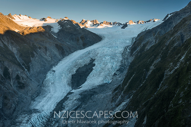 Franz Josef Glacier and Main Divide at sunset, Westland Tai Poutini National Park, West Coast, World Heritage Area, New Zealand