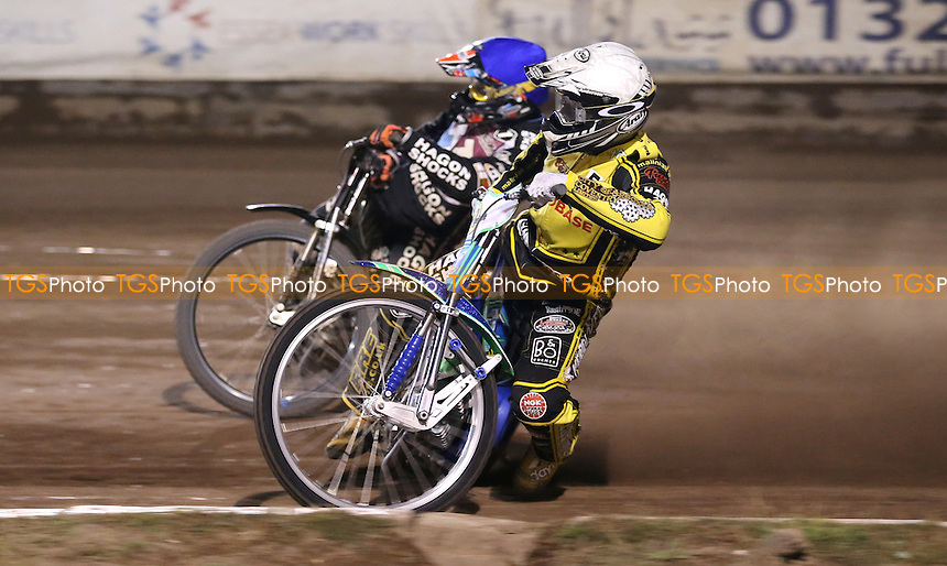 Heat 15: Hans Andersen (white) and Andreas Jonsson (blue)  - Lakeside Hammers vs Coventry Bees, Elite League Speedway at the Arena Essex Raceway, Pufleet - 27/07/15 - MANDATORY CREDIT: Rob Newell/TGSPHOTO - Self billing applies where appropriate - 0845 094 6026 - contact@tgsphoto.co.uk - NO UNPAID USE