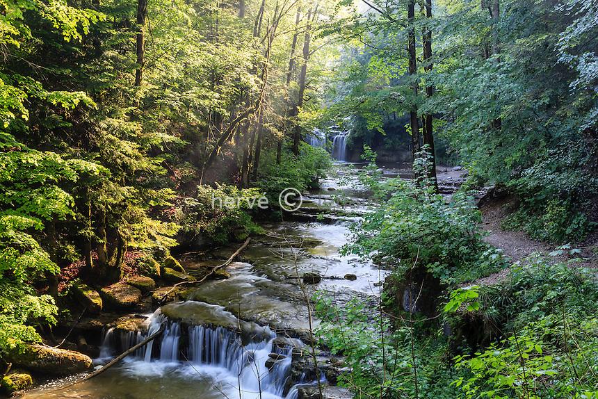 France, Jura (39), Menétrux-en-Joux, cascades de Hérisson, le Hérisson entre deux cascades majeurs // France, Jura, Menetrux en Joux, Herisson waterfalls, the river between majors falls