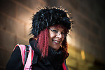 """© Joel Goodman - 07973 332324 . 14/11/2015 . Manchester , UK . FC United fan and volunteer """" Gladys Barm """" (aka the FCUM Bag Lady ) . FC United host Gainsborough Trinity in the National League North at Broadhurst Park . NB requested changing room access three times and was denied three times . Photo credit : Joel Goodman"""