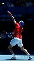 7th January 2020; RAC Arena, Perth, Western Australia; ATP Cup Australia, Perth, Day 5; Russia versus Norway; Karen Khachanov of Russia serves during his match against Viktor Durasovic of Norway - Editorial Use
