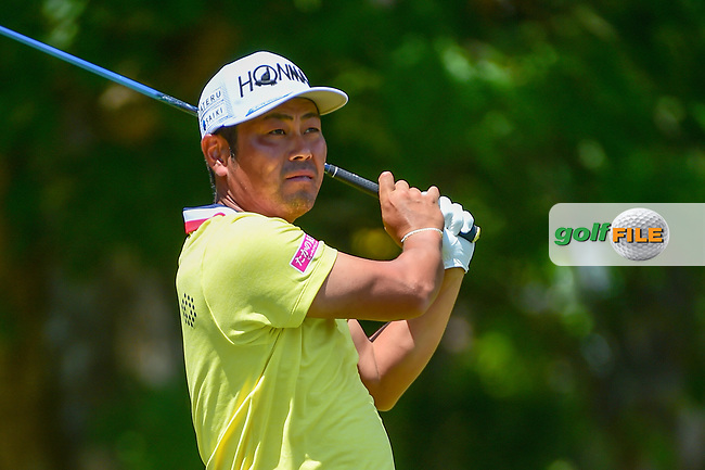 Hideto Tanihara (JAP) watches his tee shot on 5 during Thursday's round 1 of the PGA Championship at the Quail Hollow Club in Charlotte, North Carolina. 8/10/2017.<br /> Picture: Golffile | Ken Murray<br /> <br /> <br /> All photo usage must carry mandatory copyright credit (&copy; Golffile | Ken Murray)