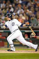Detroit Tigers right fielder Magglio Ordonez (30) follows through on his swing versus the Los Angeles Angels at Comerica Park in Detroit, MI, Sunday, April 27, 2008.