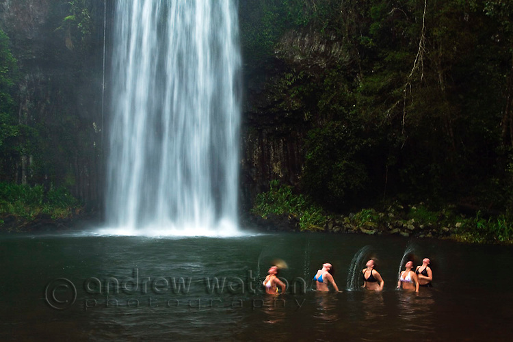 Tourists having fun in the waters of Millaa Millaa Falls on the Atherton Tablelands, near  Cairns, Queensland, Australia