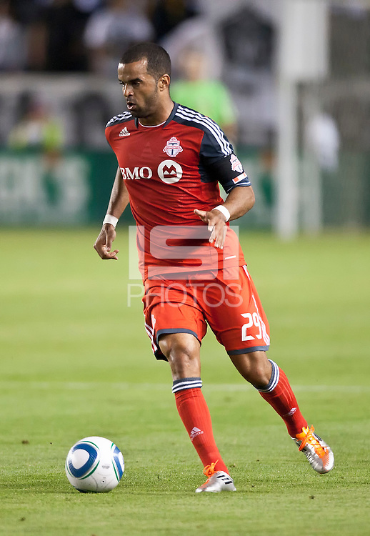 CARSON, CA – June 11, 2011: Toronto FC forward Maicon Santos (29) during the match between LA Galaxy and Toronto FC at the Home Depot Center in Carson, California. Final score LA Galaxy 2, Toronto FC 2.