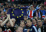 Scotland fans hold up the european flag during the FIFA World Cup Qualifying Group F match at Wembley Stadium, London. Picture date: November 11th, 2016. Pic David Klein/Sportimage