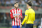 Atletico de Madrid's Yannick Ferreira Carrasco have words with English referee Mark Clattenburg during UEFA Champions League 2015/2016 Final match.May 28,2016. (ALTERPHOTOS/Acero)