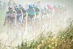 The peloton in action on the cobbles during Stage 9 of the 2018 Tour de France running 156.5km from Arras Citadelle to Roubaix, France. 15th July 2018. <br /> Picture: ASO/Alex Broadway | Cyclefile<br /> All photos usage must carry mandatory copyright credit (© Cyclefile | ASO/Alex Broadway)