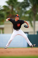 GCL Orioles shortstop Ryan Mountcastle (43) throws to first during the first game of a doubleheader against the GCL Rays on August 1, 2015 at the Ed Smith Stadium in Sarasota, Florida.  GCL Orioles defeated the GCL Rays 2-0.  (Mike Janes/Four Seam Images)
