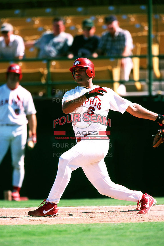 Albert Pujols of the Memphis Redbirds during the Triple A World Series at Cashman Field circa 1999 in Las Vegas, Nevada. (Larry Goren/Four Seam Images)