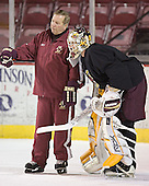 Jim Logue, Joe Pearce - Boston College's morning skate on Saturday, December 31, 2005 at Magness Arena in Denver, Colorado.  Boston College defeated Princeton that night to win the Denver Cup.