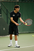 26 January 2006: Stanford's Blake Muller during the Cardinal's 6-1 win over Hawaii at the Taube Family Tennis Stadium in Stanford, CA.