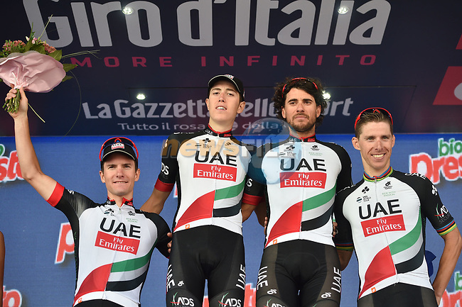 UAE Team Emirates on the podium after Stage 18 of the 100th edition of the Giro d'Italia 2017, running 137km from Moena to Ortisei/St. Ulrich, Italy. 25th May 2017.<br /> Picture: LaPresse/Massimo Paolone | Cyclefile<br /> <br /> <br /> All photos usage must carry mandatory copyright credit (&copy; Cyclefile | LaPresse/Massimo Paolone)