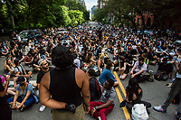 NEW YORK, NEW YORK - JUNE 07: View of a large group of protesters during a protest in Upper Manhattan on June 7, 2020 in New York, NY. Protesters continue to take to the streets across the United States and in other parts of the world after the murder of George Floyd by a white police officer Derek Chauvin. The protests attempt to give voice to the need for African American human rights. (Photo by Pablo Monsalve / VIEWpress )