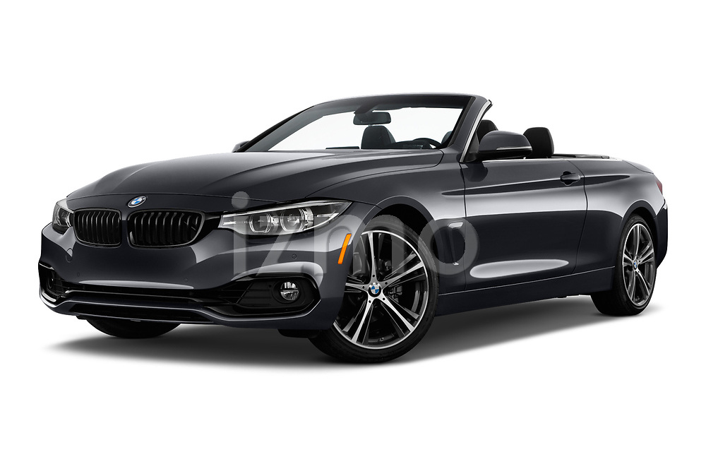 Stock pictures of low aggressive front three quarter view of a 2019 BMW 4 Series 430i 2 Door Convertible
