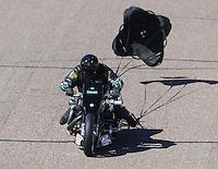 Feb 25, 2017; Chandler, AZ, USA; NHRA top fuel nitro Harley Davidson rider Tracy Kile during qualifying for the Arizona Nationals at Wild Horse Pass Motorsports Park. Mandatory Credit: Mark J. Rebilas-USA TODAY Sports