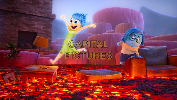 Joy (voice of Amy Poehler) and Sadness (voice of Phyllis Smith) <br /> in Inside Out (2015) <br /> *Filmstill - Editorial Use Only*<br /> CAP/FB<br /> Image supplied by Capital Pictures