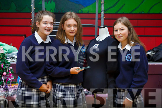 The winners of the Intermediate Entrepreneurs award at the Castleisland Presentation Secondary school for their Armour Wear and Tear project.  L-r,  l-r, Sarah O'Mahoney (Castleisland), Ciara Sheehan (Castleisland) and Amy Walsh (Knocknagoshel).