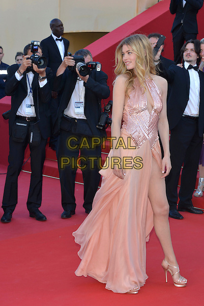 Doutzen Kroes.'Le Passe'  film premiere at the 66th Cannes Film Festival, Cannes, France, 17th May 2013..full length peach nude dress slit split leg thigh cut out pink shiny strappy gold sandals .CAP/PL.©Phil Loftus/Capital Pictures