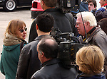 Newsday photographers, Karen Wiles-Stabile and Dick Yarwood, at Nassau Co. police HQ in Mineola on Tuesday February 8, 2005, awaiting the arrival of detectives bringing Nicole Pearce an accused accomplice of Chris DiMeo in a series of jewelry robberies and homicides. (Photo copyright Jim Peppler 2004).