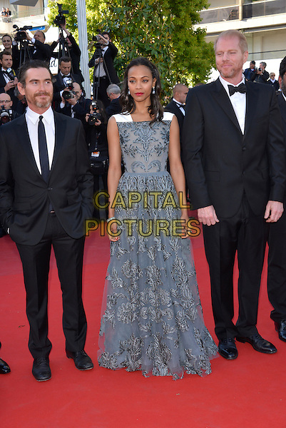 Billy Crudup, Zoe Saldana, Noah Emmerich.'Blood Ties' premiere at the 66th  Cannes Film Festival, France..20th May 2013.full length black suit tuxedo beard facial hair white grey gray blue lace dress sleeveless floral print .CAP/PL.©Phil Loftus/Capital Pictures.