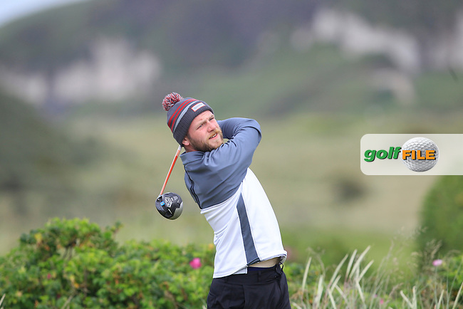 Michael Reid (Galgorm Castle) on the 7th tee during Round 1 of the North of Ireland Amateur Open Championship at Royal Portrush, Valley Corse on Monday 13th July 2015.<br /> Picture:  Thos Caffrey / www.golffile.ie