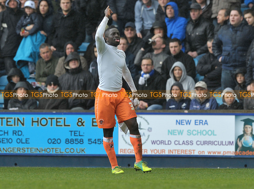 Nouha Dicko of Blackpool celebrates his goal and Blackpool's second - Millwall vs Blackpool - nPower Championship Football at the New Den, London - 28/04/2012 - MANDATORY CREDIT: Martin Dalton/TGSPHOTO - Self billing applies where appropriate - 0845 094 6026 - contact@tgsphoto.co.uk - NO UNPAID USE.